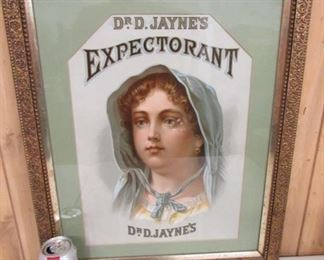 1890's  Dr.D.Jayne's Expectorant Framed Paper Drug Store Sign
