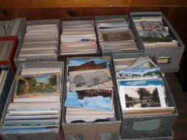 large collection of post cards
