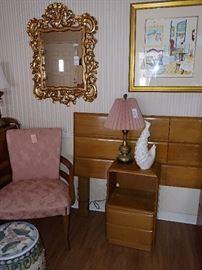 Hollywood Regency Style Mirror, Mid Century Chair