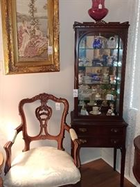 Chippendale Style Arm Chair, Glass Front Curio Cabinet
