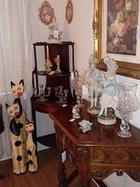 Corner Curio and Carved Wood Entrance Table