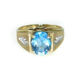 10K GOLD BLUE TOPAZ & DIAMOND MEN'S RING