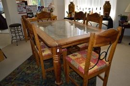 Beautiful wood carved table and 6 chairs