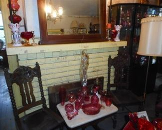 Vintage, Antique, Chairs, Occasional Tables, Cranberry, Red Glass, Amberina