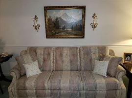 Clayton Marcus Hand Crafted Upholstered Sofa with Matching Throw Pillows