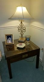 Beautiful Vintage Henredon Scene One Campaign Style End Table,