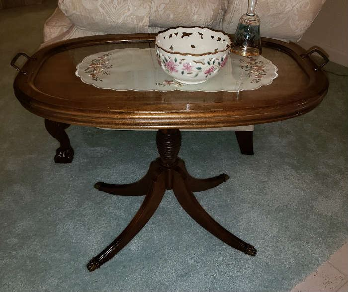 Antique/Vintage Oval Side Table with Life Off Glass Tray.