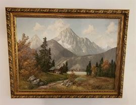 Mountain Landscape Oil Painting by F. Kam Meyer Muenchen.