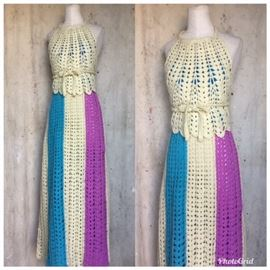 1960s hand crocheted Halter and Maxi Skirt