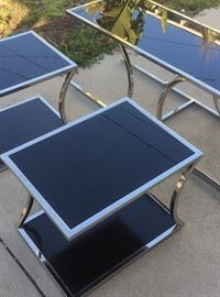 Silver &  Black nesting tables glass and chrome