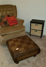 Club chair, ottoman, pillows