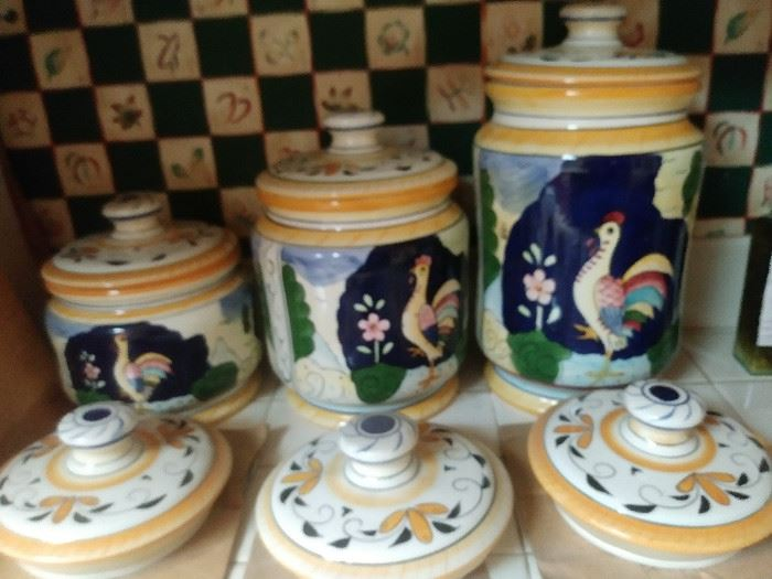 Ceramic Canisters with extra lids by Abigail