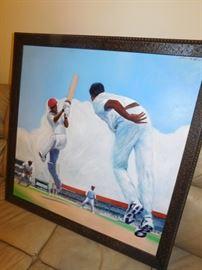 Martin Superville artist, from Trinidad & Tobago. Cricket Match 2009. 4'x4'. Signed.