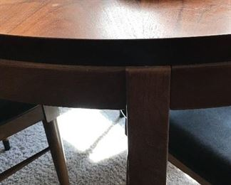 Close-up of Lane dining table