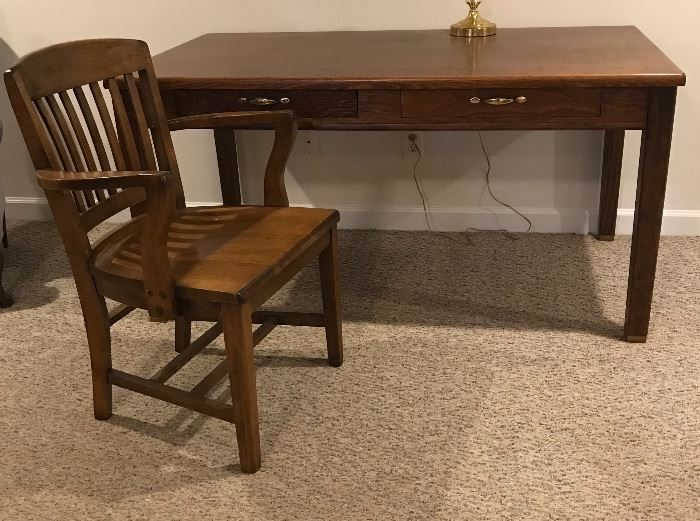 Vintage library desk and Boling Chair Company walnut chair