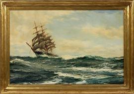 "MONTAGUE DAWSON (BRITISH, 1890–1973), OIL ON CANVAS, H 24"", W 36"", THE ""LOCH ETIVE""  Lot 2086  www.dumoart.com"
