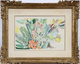 """OSKAR KOKOSCHKA (AUSTRIAN, 1886–1980), WATERCOLOR ON PAPER, """"FLOWERS"""", IMAGE: H 15 1/2"""", W 23 3/4""""  Lot 2065  view details www.dumoart.com"""