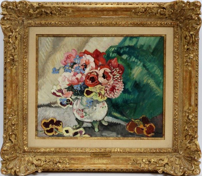 "LOUIS VALTAT (FRENCH, 1869–1952), OIL ON CANVAS, FLORAL STILL LIFE, ""ANEMONES"", H 13"", W 16"":  Lot 2063  www.dumoart.com"
