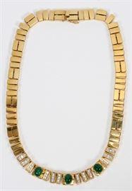 "10.00CT NATURAL EMERALD & 1.20CT DIAMOND (G, VS-2), 14KT GOLD NECKLACE, L 16"", T.W. 99.6 GR  Lot 2059  See all jewelry lots visit www.dumoart.com"