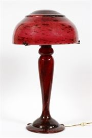 "SIGNED ""DAUM NANCY FRANCE"", ART GLASS TABLE LAMP, ANTIQUE H 23 1/2"" DIA 14"" SIGNED SHADE  Lot 2051  www.dumoart.com"
