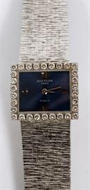 "PATEK PHILLIPE LADY'S 18KT WHITE GOLD AND 1CT DIAMOND WRIST WATCH, L 6 1/2""  Lot 2167  view details www.dumoart.com"