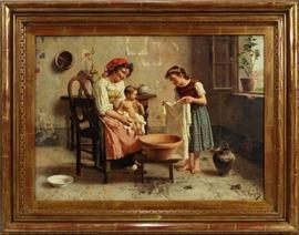 "EUGENIO ZAMPIGHI [ITALIAN, 1859–1944], OIL ON CANVAS, H 21"", W 29"", WASHING THE BABY  Lot 2009"