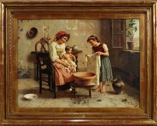 "EUGENIO ZAMPIGHI [ITALIAN, 1859–1944], OIL ON CANVAS, H 21"", W 29"", WASHING THE BABY  Lot 2009"