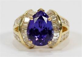 2.55CT DIAMOND (G, VS-2) & 5.10CT TANZANITE, 14KT GOLD RING, SIZE: 5.75, T.W. 10.4 GR  Lot 2062  www.dumoart.com