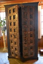 HUGE Cabinet/Bar with Antique Primitive Doors from India.  One of a kind!
