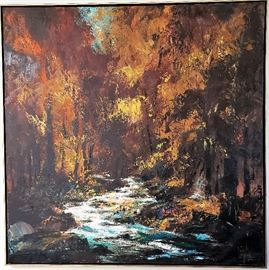 """Original oil painting by listed MCM artist Jack Laycox titled """"Autumn Interior"""". Measures approx. 49"""" x 49"""" not including frame. Superb condition."""