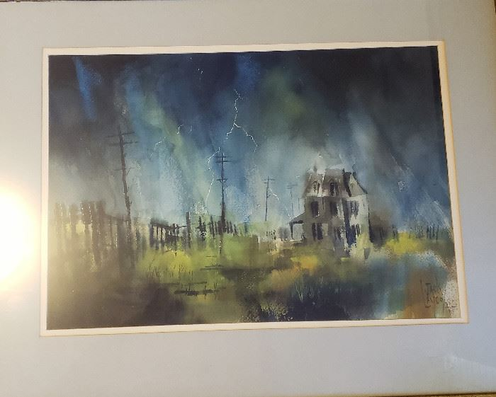 """Original watercolor painting by listed MCM artist Jack Laycox titled """"Summer Storm"""". Measures approx. 15"""" x 21"""" not including frame. Superb condition under glass."""