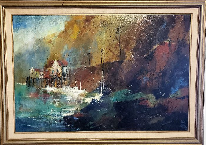"""Original oil painting by listed MCM artist Jack Laycox titled """"North Coast Landing"""". Measures 25"""" x 37"""" not including frame. Superb condition."""