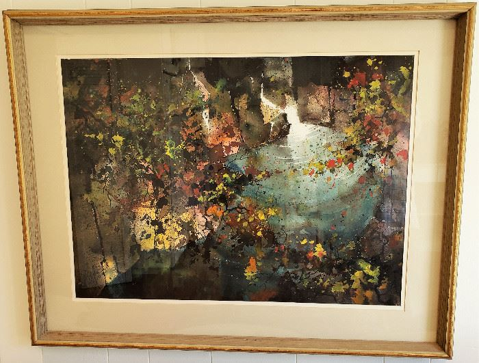 """Original watercolor painting by listed Mid Century Modern California artist JACK LAYCOX titled """"Interior"""". Measures approx. 23"""" x 31"""" not including frame or matte. Superb condition under glass."""