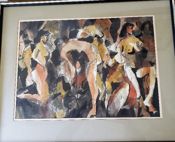 """Original watercolor painting by listed MCM artist Jack Laycox titled """"Studio"""". Measures approx. 18"""" x 24"""" not including frame. Superb condition under glass."""