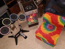 groovy man retro stereo set up tye die chair