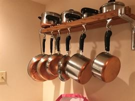 copper bottom pan set, great condition.