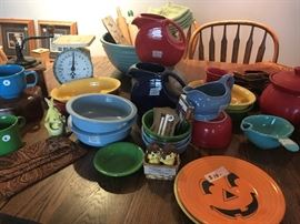 Fiesta, smiley face, pumpkin plate, nappy bowls, platters, plates and more.