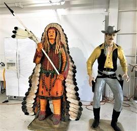 6' Tall Fiberglass Indian and Cowboy Statues