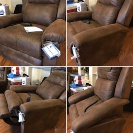 LaZboy Luxury Lift - never used. Has massage, heats, is an easy chair and a lift!! Retails for $2,500. Estate sale price: $900