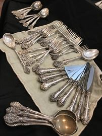 "Gorham ""King Edward"" sterling 40-piece set. $1,500 6 soup spoons 8 teaspoons 8 knives 8 forks 8 salad forks Sugar spoon 2 serving spoons"