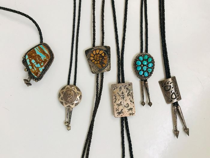 Navajo silver and turquoise boleros. Prices from left to right. $185, $60, $80, $80, $100, $60.