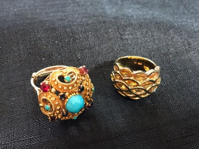 Left: 18K ring with turquoise, rubies & sapphires. $450 Right: Silver with citrines $45