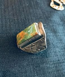 Men's ring Size 14. Sterling and turquoise $85
