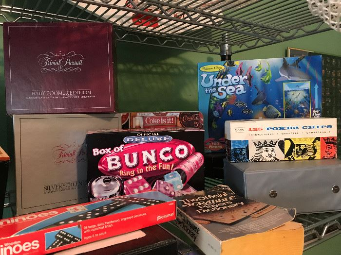 Bunco, Dominos, Under the Sea, Poker chips, Trivial Pursuit
