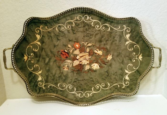Vintage Inlaid Wood Serving Tray with Brass Handles. $24