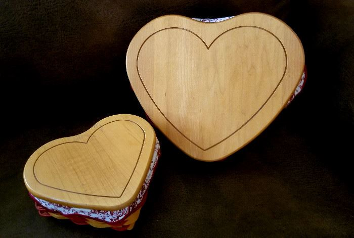 Longaberger heart shape baskets with wooden lids. $18 and $12