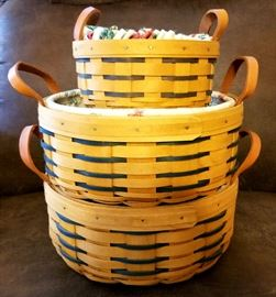 Longaberger round baskets with leather handles and liners. Small: $12  Large: $20 each