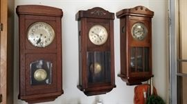 German box wall clock, time and strike,, Dufa wall clock, Oak cabinet clock