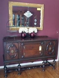 Antique Buffet and Gold Gilt Mirror