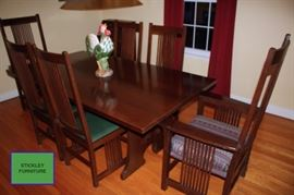 Stickley Trestle Table with 6 Chairs